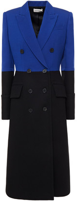 Alexander McQueen Double-breasted Two-tone Crepe And Wool-blend Felt Coat