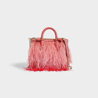 Most Wanted Design by Carlos Souza The Strathberry Nano Tote In Salmon And Ruby Leather And Feathers