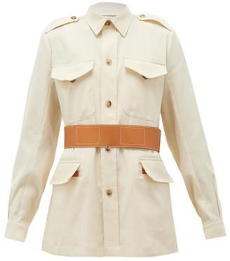 Umit Benan B+ - Safari Leather-belt Linen-blend Jacket - White