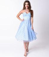 Unique Vintage 1950s Periwinkle Swiss Dot Dandridge Strapless Swing Dress
