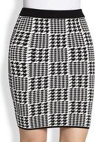 Torn By Ronny Kobo Celine Houndstooth-Check Stretch Knit Skirt