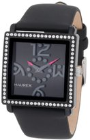 Haurex Italy Women's NF369DNN Diverso PC Square Black Dial Crystal Bezel Leather Watch