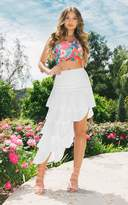 PrettyLittleThing White Tiered Split Maxi Skirt