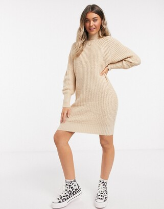 Brave Soul colombo turtleneck dress in fisherman rib