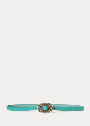 Ralph Lauren Skinny Leather Buckle Belt