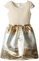 Us Angels Cap Sleeve Metallic Brocade Dress (Big Kids)