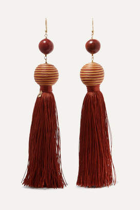 Rosantica Wood And Tassel Earrings - Brown