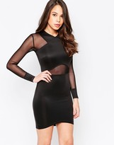 AX Paris Long Sleeve Bodycon Dress with Mesh Inserts