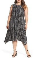 Vince Camuto Plus Size Women's Electric Lines Shark Bite Hem Dress