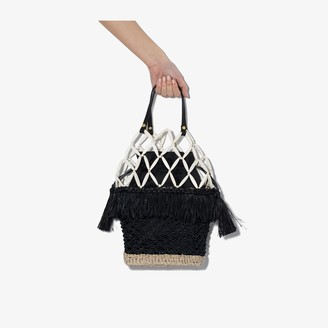 Aranaz black Abaca net basket bag