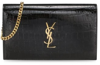 Saint Laurent Monogram Croc-Embossed Leather Wallet-On-Chain