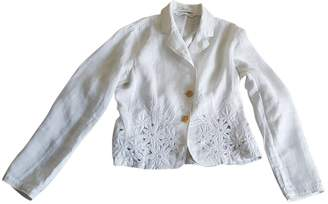 Nice Connection White Linen Jacket for Women