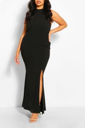 boohoo Plus Halterneck Thigh High Split Maxi Dress