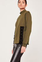 Missguided Lace Up Front Sweatshirt Khaki