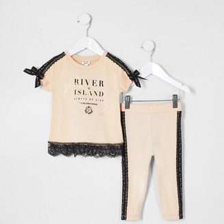River Island Mini girls Nude lace tape t-shirt outfit