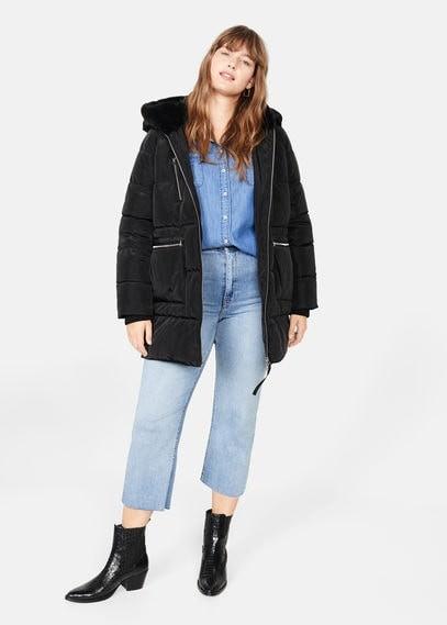 MANGO Faux fur hood coat