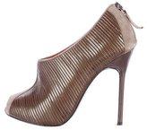 Charles Jourdan Patent Leather Peep-Toe Booties
