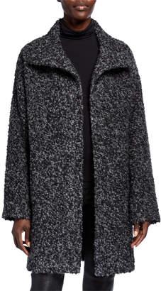 Eileen Fisher Curly Alpaca High-Collar Coat