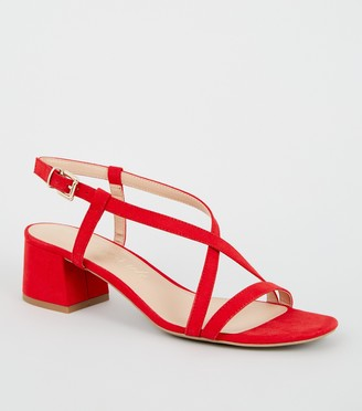 New Look Wide Fit Suedette Strappy Low Heel Sandals