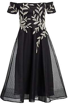Teri Jon by Rickie Freeman Women's Metallic Embroidered Off-The-Shoulder A-Line Dress