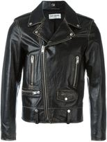 Saint Laurent distressed biker jacket - men - Cotton/Calf Leather/Cupro - 50