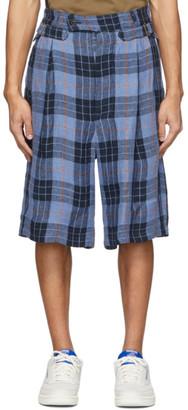Nicholas Daley Navy and Blue Check Shorts