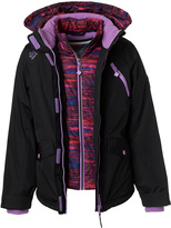 Big Chill Black & Purple Double-Layer Hooded Jacket - Girls