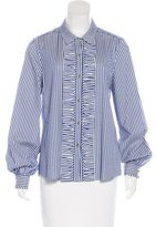 Kate Spade Ruffle-Accented Striped Top