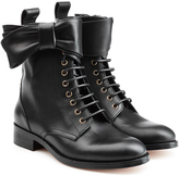 RED Valentino Leather Lace-Up Ankle Boots with Bow