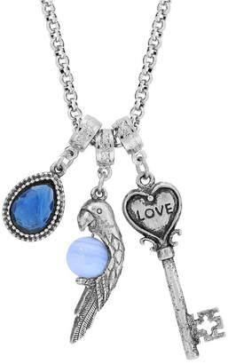 "2028 Pewter Parrot, Love Key, Blue Lace Agat, Blue Stone 30"""
