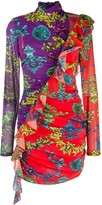Versace Ruffled Trim Georgette-Print Dress