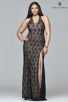 Faviana 9398 Long fit and flare lace with straps at deep v
