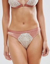 Asos Valerie High Apex Satin & Lace Hipster Bikini Bottom