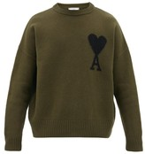 Ami De Cur-intarsia Oversized Wool Sweater - Mens - Khaki