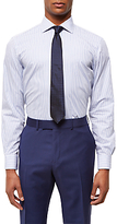 Jaeger Bold Stripe Regular Fit Cotton Shirt, Blue