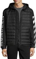 Moncler Arrow-Print Hooded Down Jacket, Black