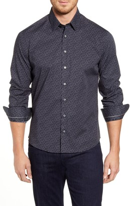 Stone Rose Regular Fit Geo Print Button-Up Sport Shirt