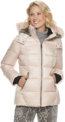 Women's Halitech Hooded Short Puffer with Faux Fur Trim Coat