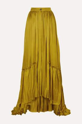 Ann Demeulemeester Asymmetric Tiered Habotai Maxi Skirt - Gold