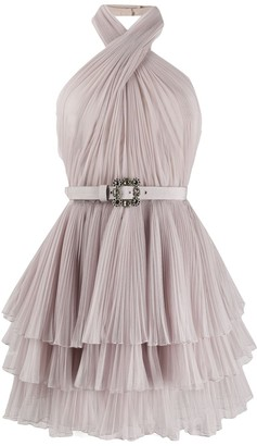 Alberta Ferretti Halterneck Tulle Mini Dress