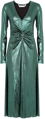 Rotate by Birger Christensen Number 7 metallic green stretch-jersey midi dress
