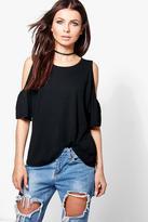 Boohoo Emily Flute Sleeve Cold Shoulder T-Shirt