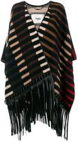 Fendi striped fringed poncho - women - Lamb Skin/Polyamide/Camel Hair - 42
