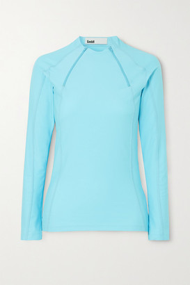 GmbH + Net Sustain Ande Zip-detailed Stretch-jersey Top - Light blue