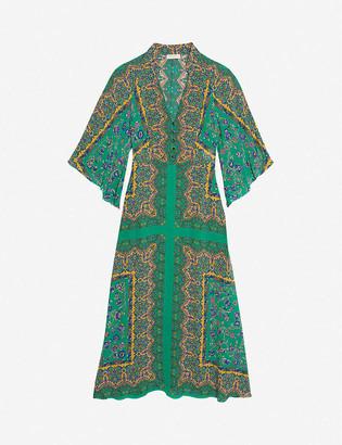 Sandro Sandie floral-print crepe maxi dress