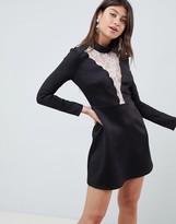 Asos Design DESIGN scallop lace insert scuba mini dress