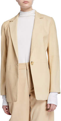 Vince Nubuck Leather One-Button Blazer