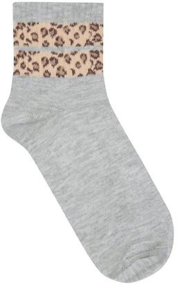 M&Co Teen stripe leopard socks