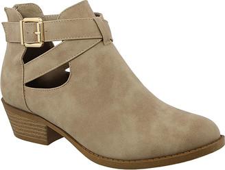 Top Moda Women's Casual boots Khaki - Khaki Buckle-Accent Judy Bootie - Women