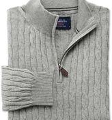 Charles Tyrwhitt Light grey cotton cashmere cable zip neck jumper